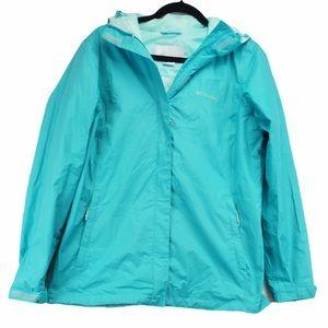 Columbia L Teal Blue Rain Jacket